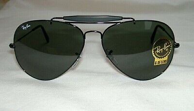 New RAY BAN Sunglasses  Black  AVIATOR Outdoorsman II  RB 3029 L2114  G-15 Glass