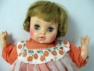 "Horsman Doll Vintage 1969 Cloth and Vinyl 17"" Original Outfit Sleep Eyes"