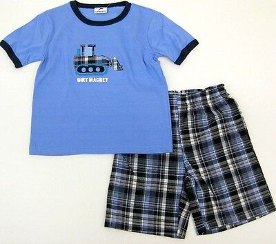 Outfit Kid Clothes Top Plaid Short Elastic 2Pcs Boys Size 4 5 6 NWT T Shirt  New
