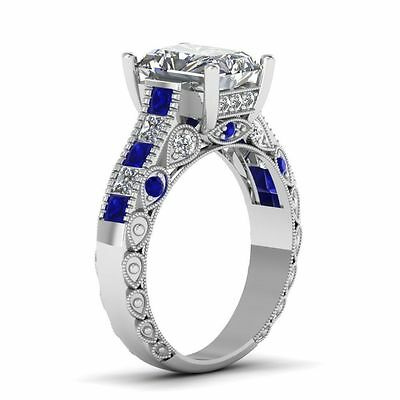 Certified 4.25Cts Emerald Cut Diamond Vintage Ring With Blue Sapphire 10K GOLD