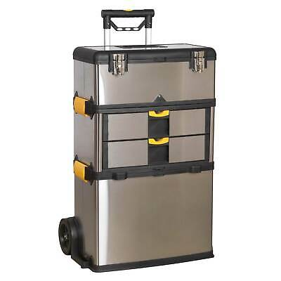 Sealey Mobile Stainless Steel/Composite Garage Tool Box - 3 Compartment - AP855