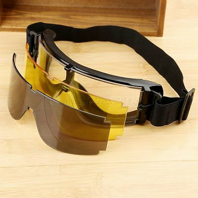 3 Lens USMC Airsoft X800 UV-400 Goggle Safety Glasses GX1000 Yellow Black Clear