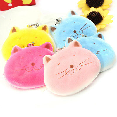 1PC Lovely Cartoon Fat Cat Squishy Cell Phone Charm Decor Keychain Bag Strap