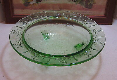 """Vintage US Glass Green Depression Glass Rose & Thorn 3 Toed Footed 11"""" Bowl"""