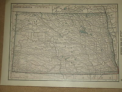 1910 Original  MAP NEBRASKA / NORTH DAKOTA   FREE SHIPPING
