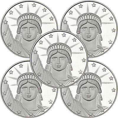 Silvertowne Lady Liberty 1 oz .999 Fine Silver Round- Lot of 5