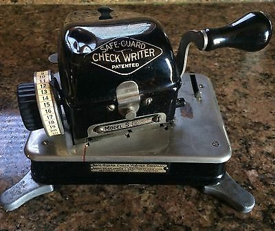 Antique Safe Guard Check Writer Patented 1917 Model S    Extremely Rare