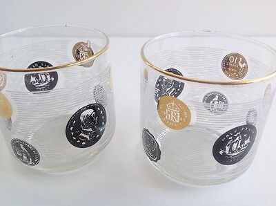 Set of 2 vtg Libbey glass tumblers, old coin/ currency design, mid century