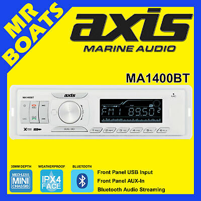 AXIS MARINE RADIO ✱ MA1400BT ✱ BLUETOOTH STREAMING AM/FM STEREO Watertight Face