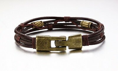 18K Gold GP Vintage Leather Classic Men's Bracelet Brown