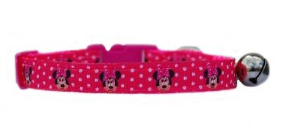 Handmade fabric hot pink white polka dots Minnie  safety kitten cat collar bell