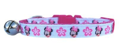 Handmade fabric pink white Minnie & Pink flowers safety kitten cat collar bell