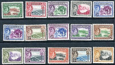 DOMINICA-1938-47 ½d-10/- full set of 15.  A lightly mounted mint set Sg 99-108a