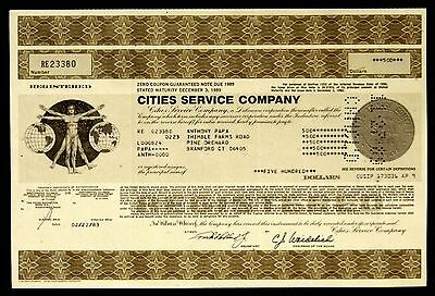 Stock Certificate Cities Service Co Registered Zero Coupon Guaranteed Note Bond
