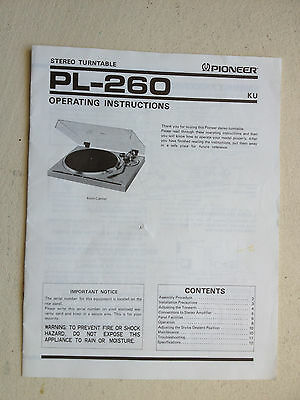 PIONEER PL-260 STEREO TURNTABLE ORIGINAL OPERATING INSTRUCTIONS
