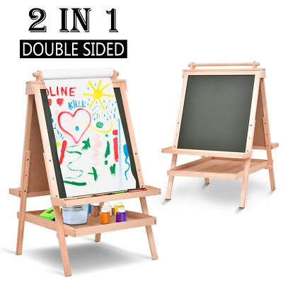 Adjustable Children Kids Wooden Drawing Boards Easel Chalk 2 In 1 Black / White