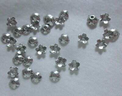 50 Antique Silver Coloured 6mm Flower Bead Caps #bc780