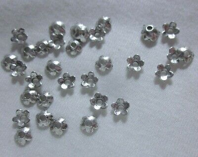 50 Antique Silver Coloured 6mm Flower Bead Caps #bc780 Combine Post-See Listing