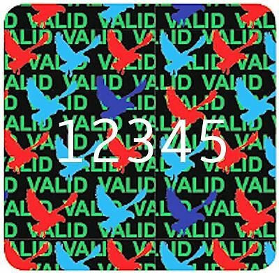 MEDIUM Security Hologram Stickers Labels, 15mm Square, VALID DOVE Warranty VOID