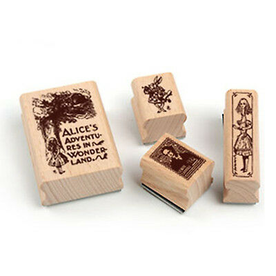 Alice Adventures in Wonderland  Vintage Collection  Rubber Stamp  4 Pieces