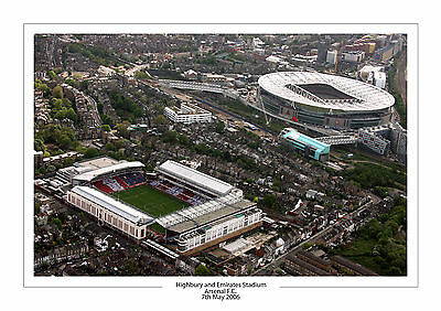 Aerial Photo Highbury And  Emirates Stadium Arsenal A4 Print Photo