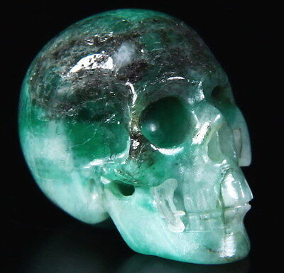 EMERALD Carved Crystal Skull, Realistic, Crystal Healing, #625
