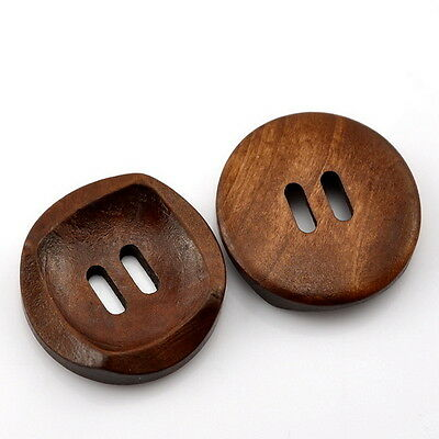 25PCs Wooden Sewing Buttons Coffee 2 Holes Round Concave 30mm