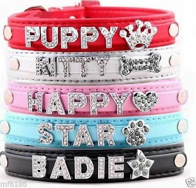 DIY Pet Collar Bling Rhinestone Name Personalized Leather Dog Puppy Cat Collars