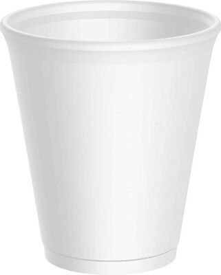 100 - 12oz WHITE FOAM / POLYSTYRENE DISPOSABLE PARTY CUPS + FREE DELIVERY