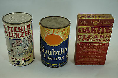 Vintage Soap Tin Advertising Country Store Kitchen Klenzer Sunbrite Oakite Lot 3