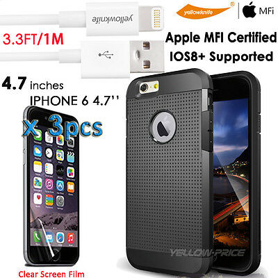 Apple MFI Licensed Lightning 8P to USB Cable 3FT iPhone 6 Shockproof Armor Case