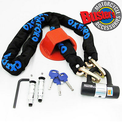 1.5M Heavy Duty Motorcycle Padlock Bike Chain & Wall or Ground Anchor Security