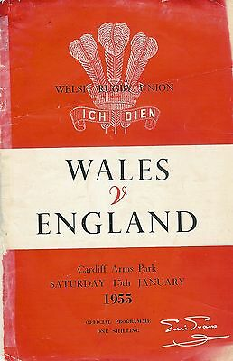 WALES v ENGLAND 1955 RUGBY PROGRAMME 22 Jan at CARDIFF