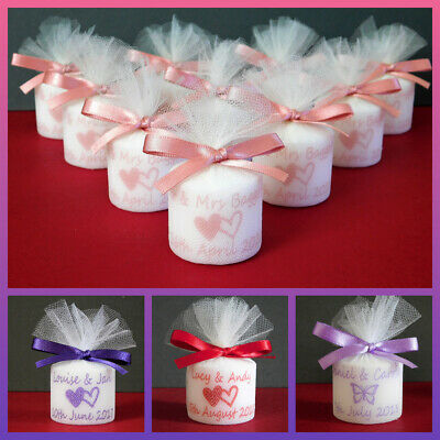 Personalised Votive Candle Wedding Favours Available In 18 Colours Set of 10
