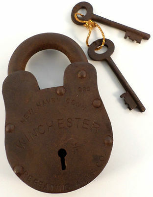 """Cast Iron Winchester New Haven Gun Padlock Lock With Keys Made In America 3""""X5"""""""