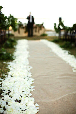 "BURLAP JUTE NATURAL HEMP RUSTIC WEDDING AISLE RUNNER - 25FT x 60"" - NATURAL"