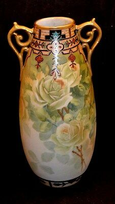 Nippon Tall Vase White Gold Roses Double Gold Handles Deco Raised Gold Moriage