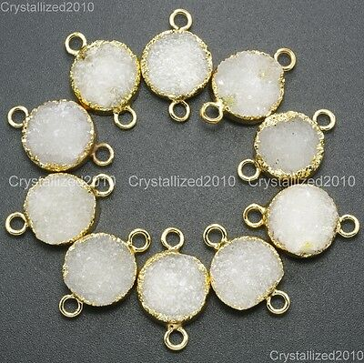 Natural Druzy Quartz Agate Round Connector Charm Pendant Healing Beads Gold 16mm