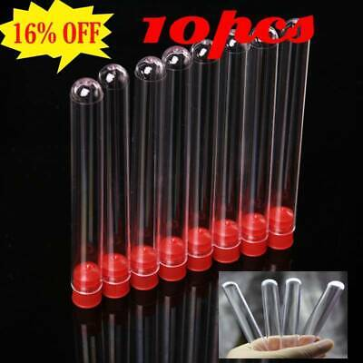 12x100mm 10pcs Plastic Clear Test Tubes With White Caps