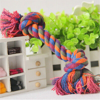 NEW Pet Chew Knot Toy Cotton Braided Bone Rope Color Puppy Dog