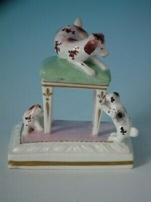 Staffordshire dog on stool with pups