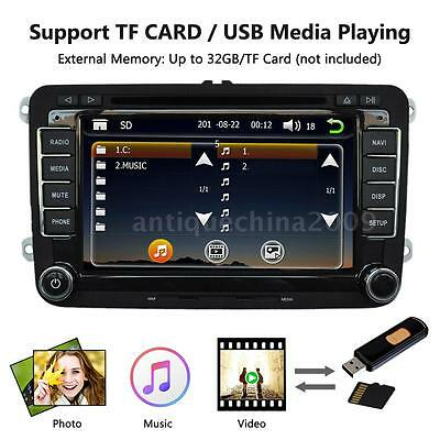 "7"" Universal 2 Din Car 1080P HD DVD Player GPS Navigation Bluetooth for VW AR"