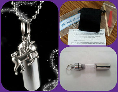 COMPLETE SET - Silver Unicorn Cremation Urn with Necklace,Velvet Pouch, Fill Kit