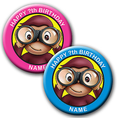 Personalised Curious George  Birthday Badges/fridge Magnets/mirrors