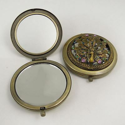 1pcs Vintage Bronze Tone Iron Peacock Compact Makeup Mirror Fill Rhinestone Mix