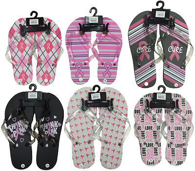 Lot of 72 Pairs Wholesale Breast Cancer Awareness Flip Flops Sandals Pink Ribbon