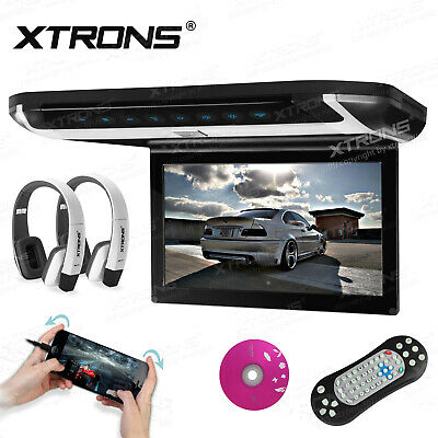 "HDMI Headphone Car 10"" HD Flip Down Overhead Roof Monitor DVD Player FM USB Game"