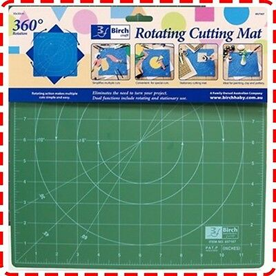 Birch 45x45cm Rotating Cutting Mat - Self Healing Quilting Patchwork Craft Ruler