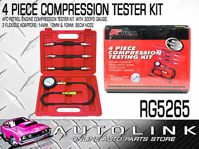 4 PIECE PETROL ENGINE COMPRESSION TESTER KIT - 300psi GAUGE , 3 ADAPTORS
