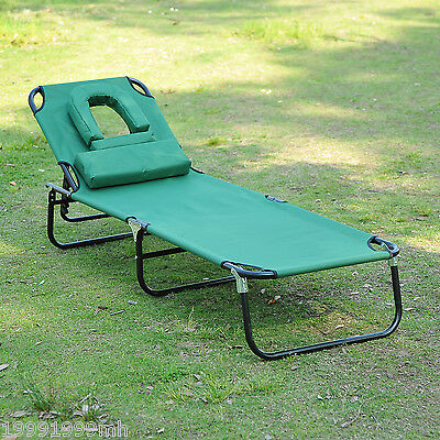Outsunny Adjustable Garden Sun Lounger Bed with Headrest Reading Hole Green